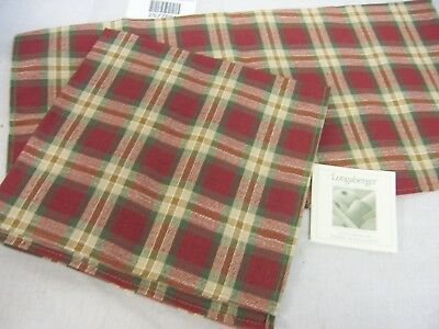 Longaberger Orchard Park Plaid Napkins, Set Of 2, Beautiful Fabric, New
