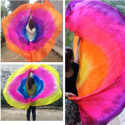 6 Styles Half Circle Silk Fan Veil Hand Rolled Edges Belly Dance Accessories 1pc