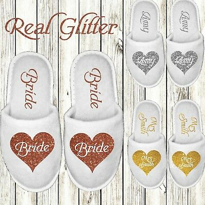 White Wedding Slippers Personalised Glitter Print Novelty Bridal Spa Closed Toes