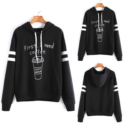 Women Hoodie Sweatshirt Long Sleeve Sweater Blouse Jumper Pullover Tops Coat USA