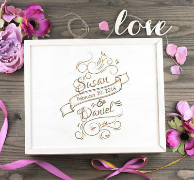 Large Personalized Wood Wedding Keepsake, Memory and Gift Box