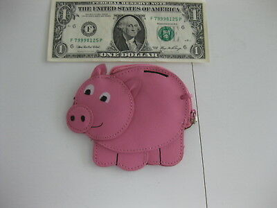 Pink Pig Coin Purse, zipper, Rolf's Leather
