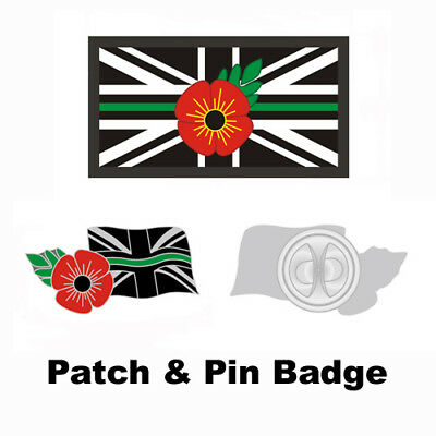 Thin Green Line Poppy Uk Ambulance Medic Band Remembrance Badge & Velcro® Patch