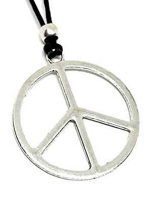 Large CND Peace Sign Pendant Beaded Cord Necklace Oceans 8 Bohemian Jewellery