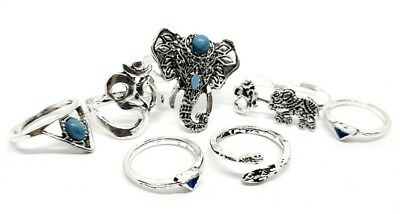 8 Ring Set Rings OM Ganesh Snake Elephants Turquoise Boho Adjustable Jewellery