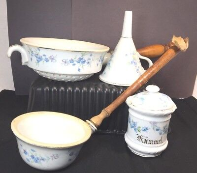 ANTIQUE GERMAN CHINA lot of 4 pcs colander, funnel, water dip, spice wood handle