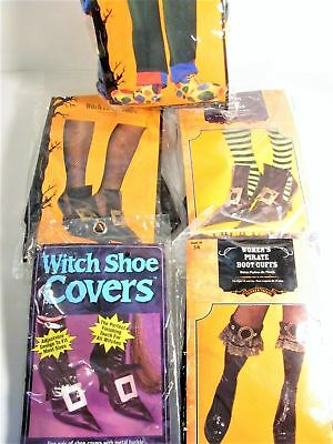 5 Piece Lot Halloween Costume Shoe Covers / Witch - Clown - Pirate