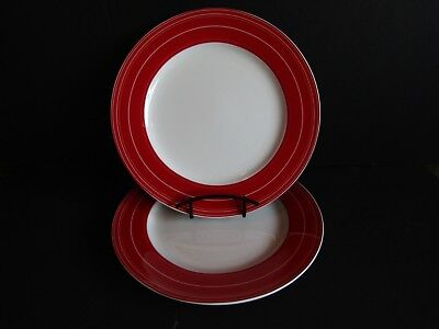 CIROA Mila Red~SET OF 2 DINNER PLATES~11 1/4-Red Rim~Thin White Stripes