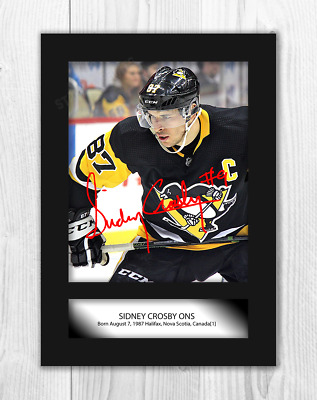 Sidney Crosby (1) NHL Pittsburgh Penguins A4 signed poster. Choice of frame.