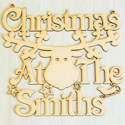 """Christmas At the """"Any Name"""" Reindeer Plaque Rudolph Inspired Home Door Decor"""