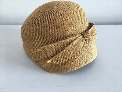 Vintage 1940s -1950s Otto Lucas Junior summer straw hat with bow