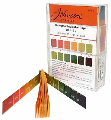 Johnson Test Papers Universal Indicator Paper, pH 1-11, Pack of 10 Books