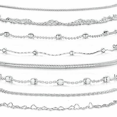 Amberta Real 925 Sterling Silver Adjustable Ankle Leg Bracelet Chain for Women