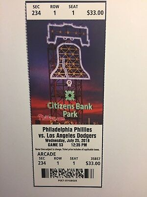 Philadelphia Phillies Vs Los Angeles Dodgers July 25, 2018 Ticket Stub
