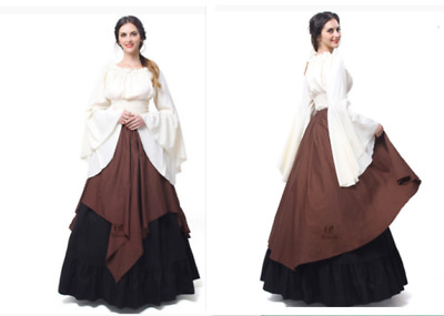 Adult Womens Renaissance Costume Medieval Maiden Vintage Fancy Cosplay LongDress