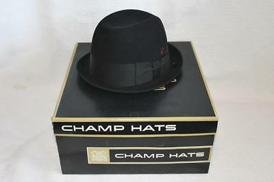 Vintage Mens Derby Kashmir Fedora CHAMP Hat with Box & Tags Size 6 3/4-BL