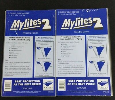 "100 E. Gerber Mylites 2 Mil Mylar Current Comic Book Sleeves 700M2  7"" X 10 1/2"""