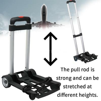 Cart Folding Dolly Truck Hand Collapsible Trolley Luggage PVC Plastic Black D4Q5
