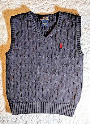 POLO Ralph Lauren sweater vest boys size 5 navy blue red pony LUCKY CAT