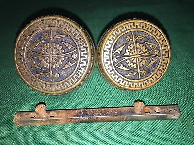Antique Cast Bronze Entry Victorian Doorknob Set - F-20100 Branford
