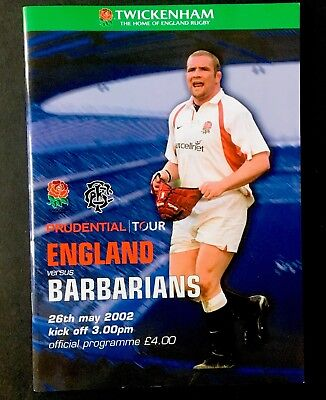 ENGLAND v BARBARIANS 2002 RUGBY PROGRAMME, TWICKENHAM , Phil Vickery