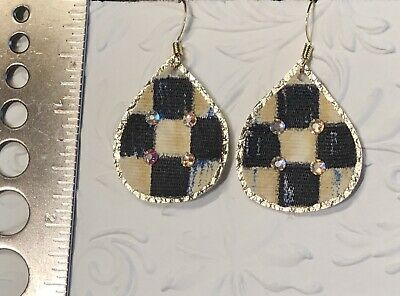 MACKENZIE-CHILDS Authentic Courtly Checker Ribbon &  Crystals Handmade Earrings