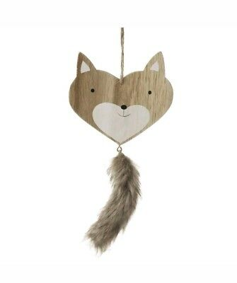 Cute Shabby Chic Wooden Hanging Fox Head With Fluffy Tail - Christmas Decoration