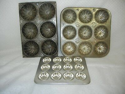 Vintage Muffin Tart Baking Trays Lot Of Three(3) Swirl Design Ovenex England