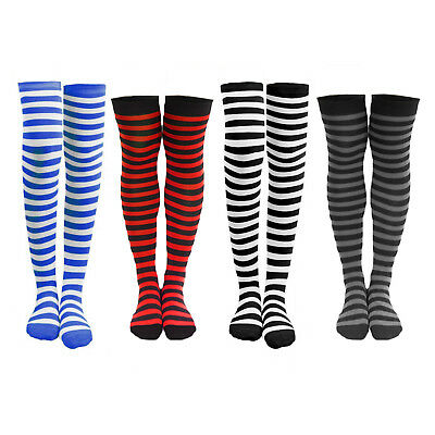 6cfdf77a50d 4 or 8 Pairs of Women s Striped Black White Blue Red Knee Cotton High Socks
