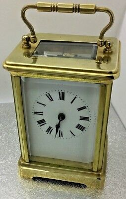 Antique Brass 8 Day French Brass Carriage Clock Bevelled Glass Recent Service