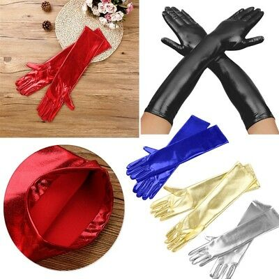 Hot Women WetLook Gloves Waterproof Cosplay Costume Finger Mittens Evening Party