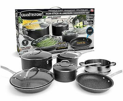 Granite Rock 10-Piece Non-Stick Ultra Durable Scratch-Resistant Cookware Set NEW