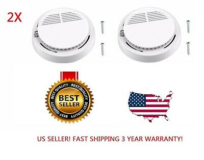 2X Wireless Smoke Detector Fire-Alarm-Sensor Photoelectric Home Security LOT
