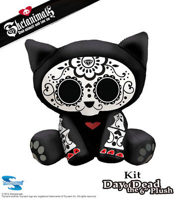 Skelanimals Day of the Dead Kit the Cat Deluxe 6 Inch Plush- New with Tags