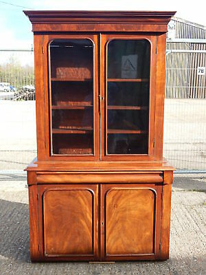 Victorian flame mahogany glazed bookcase dresser with cupboard & drawer under
