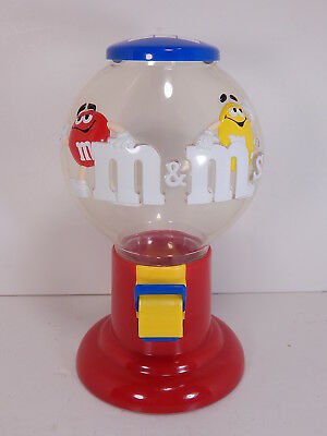 M&M CANDY DISPENSER, Red & Yellow Characters, Pull Lever & Dispense M & M Candy!