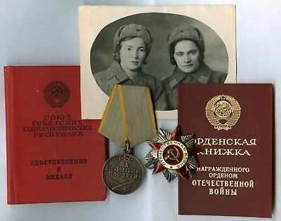 SOVIET WWII Award ORDER Patriotic War 2nd cl & Military MEDAL SET FOR WOMAN +DOC