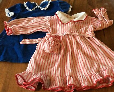 Vintage Little One by Johnston Girl's Blue Corduroy and Red Pinstripe dress