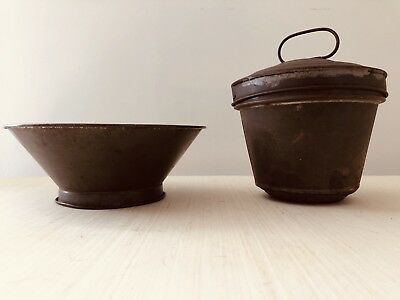 Two Vintage Primitive Metal Farmhouse Ware Sifter And Pudding Baker w Lid