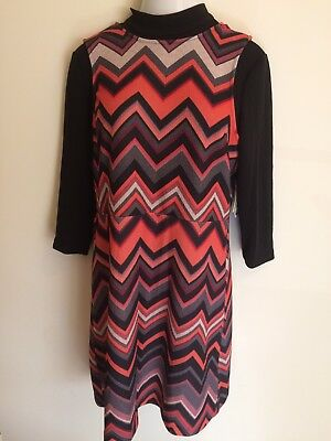 ECI New York Women's Shift Dress Size XL Multi Chevron Print Long Sleeve New