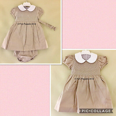BABY GIRLS SPANISH STYLE SMOCKED DRESS LIGHT MOCHA 0 6 12 18 24 M 2 3 4 5 Yrs