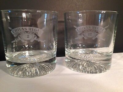 Pair of Chivas Regal 12 Year Blended Scotch Heavy 8 oz Whisky Glasses Set of 2
