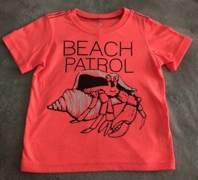 EUC Carter's Child Toddler Boy Coral-Colored Crab T-Shirt Size 24 Months