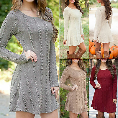US Women Long Sleeve Casual Knitted Sweater Cable Party Jumper Tunic Mini Dress
