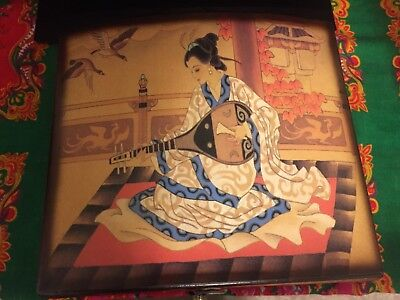 Wooden Hand-Painted (by Korean Artist) Jewelry Box from Korea -- Gorgeous!