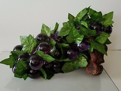 Vintage 1960s Purple Grapes Mid Century Modern Resin Lucite Large Driftwood