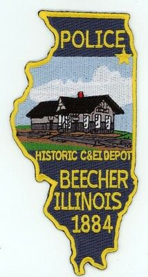 Beecher Police Illinois Il State Shaped Patch Sheriff