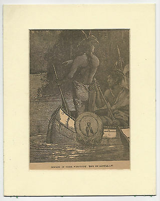 C1890s Youth Picture Book Illustration. Wariors in War Paint. Canoe