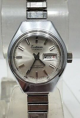 Vintage Eastman 17 Jewels Automatic Shock Resistant Swiss Made Day/Date Watch