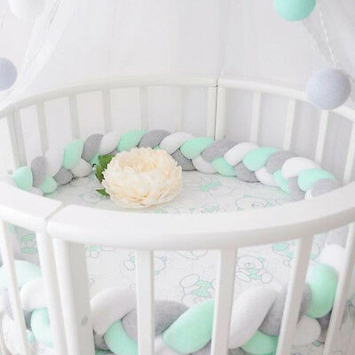 New Baby Infant Cotton Crib Bumper Bed Bedding Cot Braid Pillow Pad Protector